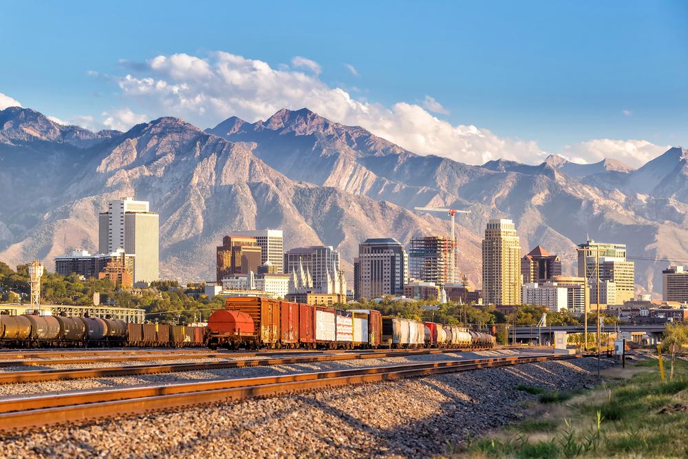 Trains and rail running through Salt Lake City